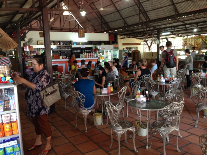 LUNCH STOPOVER.  The bus makes a brief stopover for lunch just after crossing the border into Cambodia.